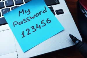 Password written down on post-it note